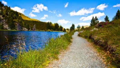 Landschaftsaufnahme mit Teich