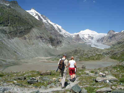 Tourists on a hiking trail