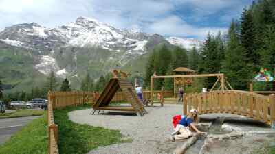Playground with mountains in the background