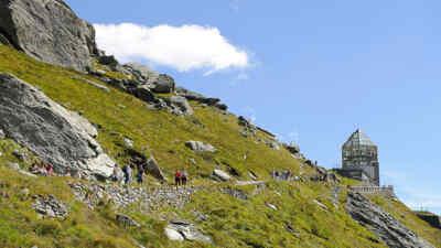 Tourists on a hiking trail