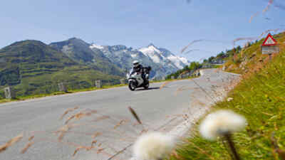 A biker on the Grossglockner High Alpine Road
