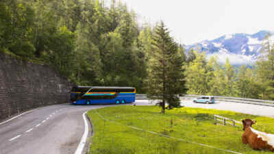 The Glockner bus at a hairpin bend