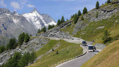 Buses drive on the Grossglockner High Alpine Road
