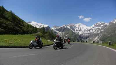 Motorcyclist on the High Alpine Road