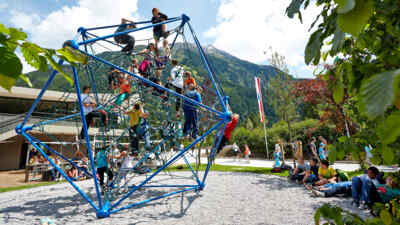 Children on climbing frame