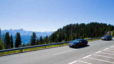 Car on the alpine road