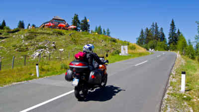 Motorcyclist on the alpine road