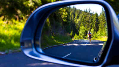 Cyclists in the rearview mirror